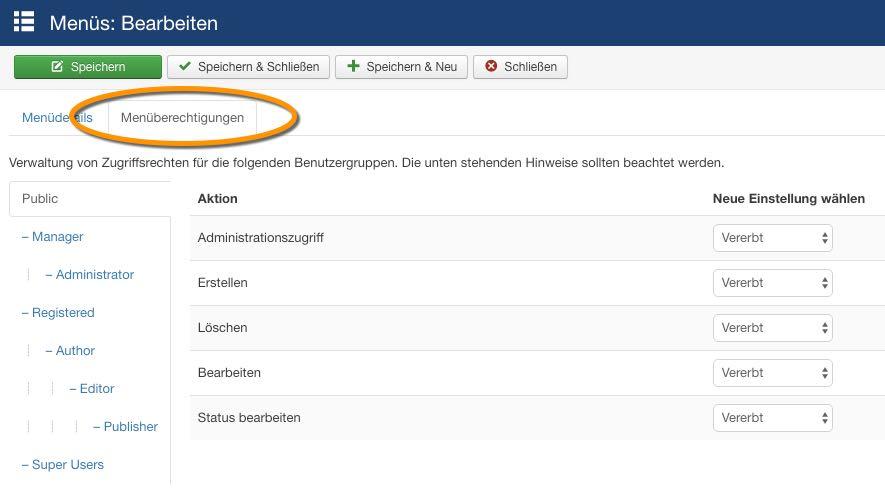 Joomla 3.6 - ACL Menü - der WEB-Krüb(l)er - Martin Krüber