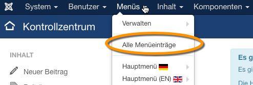 Joomla 3.6 - Menü Übersicht - der WEB-Krüb(l)er - Martin Krüber