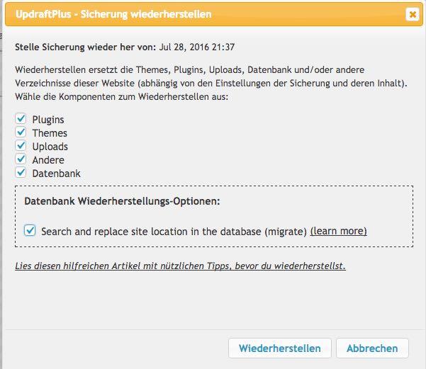 Backupfiles wiederherstellen - der WEB-Krüb(l)er - Martin Krüber