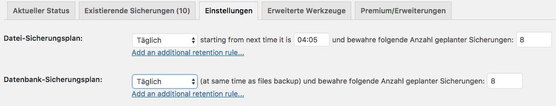 UpdraftPlus Backup automatisch ausführen - Pro Version
