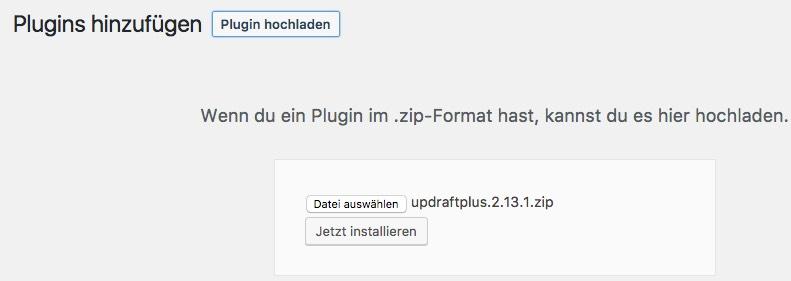 UpdraftPlus - Plugin hochladen