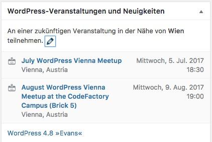 Veranstaltung in der Nähe - WordPress 4.8