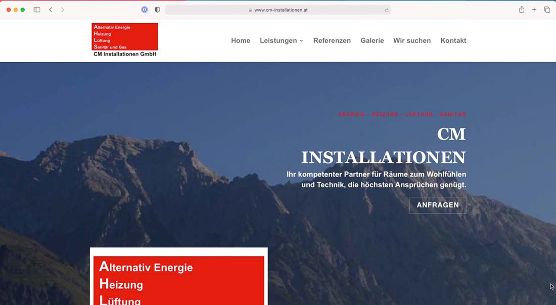 Referenz Webseite - cm-installationen.at